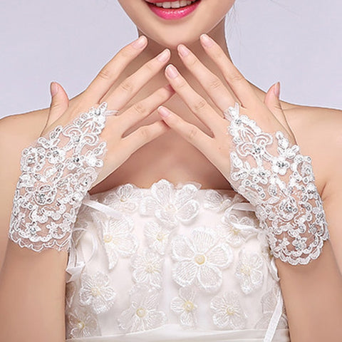 Lace Fingerless Gloves Beaded Crochet Lace Glove Wedding Accessories-available in white, red and ivory