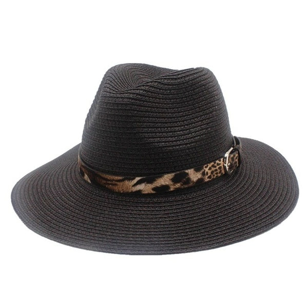 Black Straw Panama Fedora Sun Hat Wide Brim-with leopard print ribbon