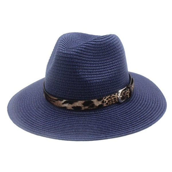 Blue Straw Panama Fedora Sun Hat Wide Brim-with leopard print ribbon