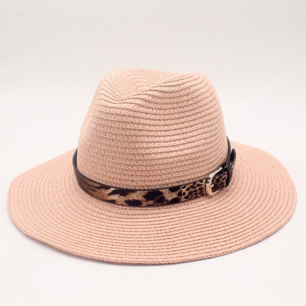 Pink Straw Panama Fedora Sun Hat Wide Brim-with leopard print ribbon