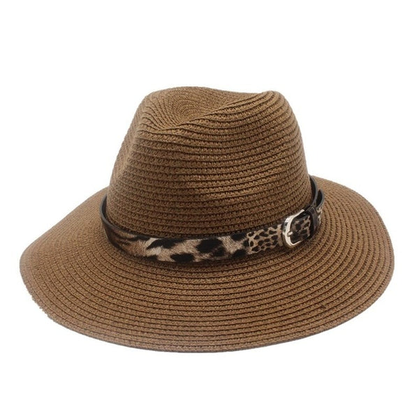 Dark tan Straw Panama Fedora Sun Hat Wide Brim-with leopard print ribbon