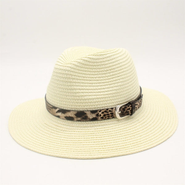 White Straw Panama Fedora Sun Hat Wide Brim-with leopard print ribbon