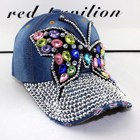 Mega Bling Bling Baseball Cap Women Full Rhinestones Colorful Big Butterfly Hat