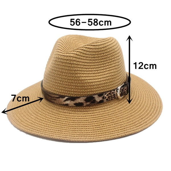 Unisex Straw Panama Fedora Sun Hat Wide Brim-with leopard print ribbon-assorted colors available