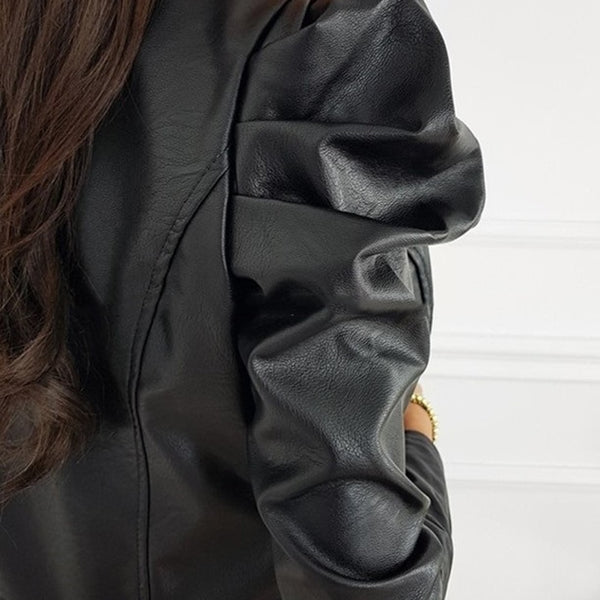 Black Faux Leather Cropped Jacket For Women Fashion Pu Leather