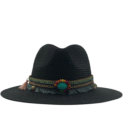 Jazz hat For Unisex Straw Musician Vintage Hat