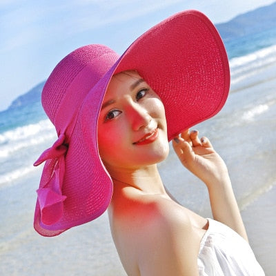 Large Brim Floppy Floppy Hat Sun Hat Beach Women Hat Foldable Summer-various colors
