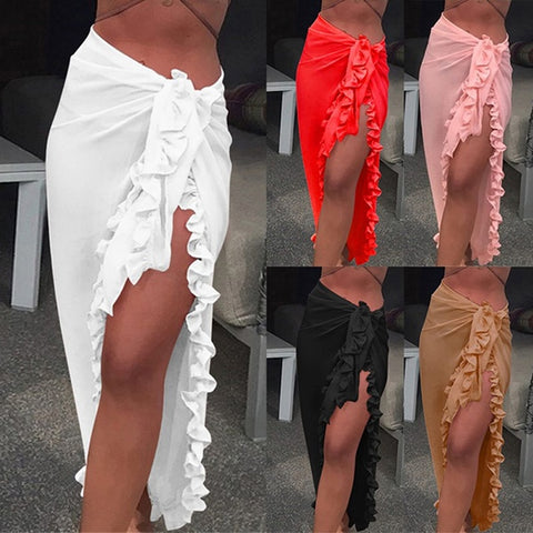 chiffon see through ruffle beach bikini cover up ruffled wrap skirt