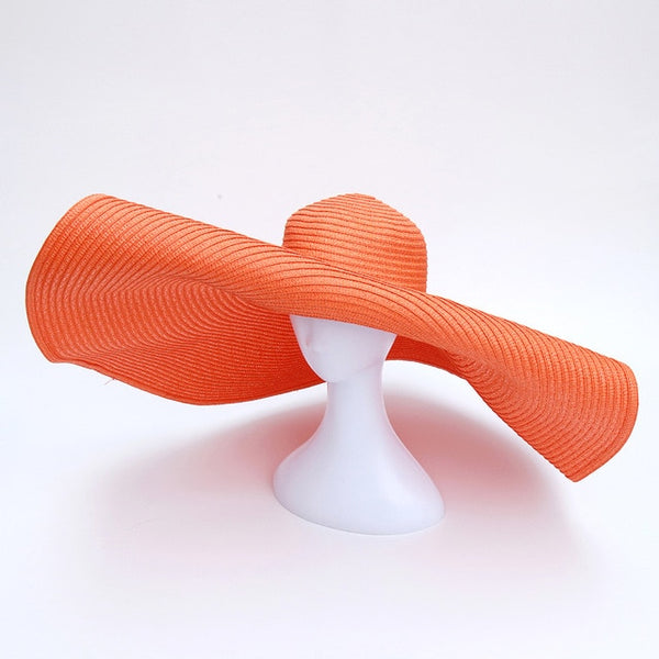 Coral Oversized Floppy Big Beach Hat Fashion Foldabl