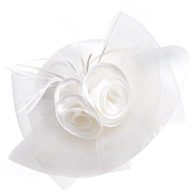 White Satin Ribbon Feathers Floral Wide Brim Hats Floppy- Kentucky Derby-Church-Tea Party