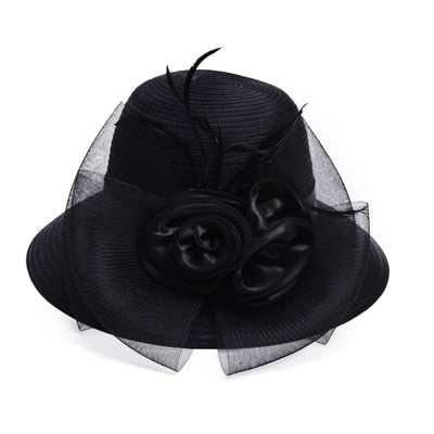 Black Satin Ribbon Feathers Floral Wide Brim Hats Floppy- Kentucky Derby-Church-Tea Party