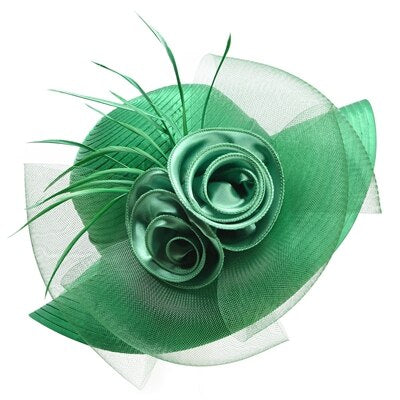 Green Satin Ribbon Feathers Floral Wide Brim Hats Floppy- Kentucky Derby-Church-Tea Party