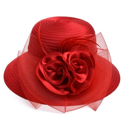 Red Satin Ribbon Feathers Floral Wide Brim Hats Floppy- Kentucky Derby-Church-Tea Party