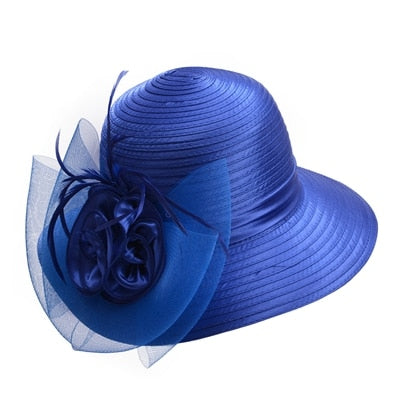 Blue Satin Ribbon Feathers Floral Wide Brim Hats Floppy- Kentucky Derby-Church-Tea Party