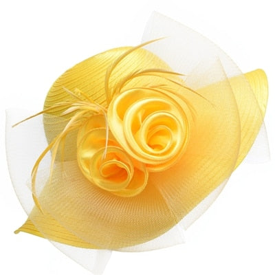 Yellow Satin Ribbon Feathers Floral Wide Brim Hats Floppy- Kentucky Derby-Church-Tea Party