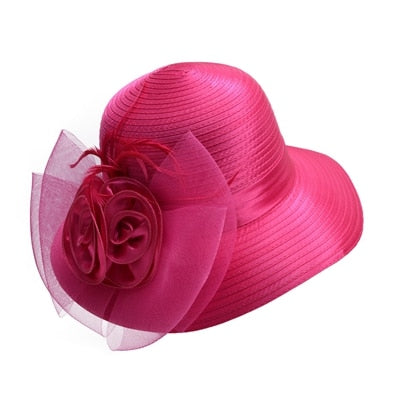 Pink Satin Ribbon Feathers Floral Wide Brim Hats Floppy- Kentucky Derby-Church-Tea Party