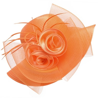 Orange Satin Ribbon Feathers Floral Wide Brim Hats Floppy- Kentucky Derby-Church-Tea Party
