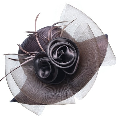 Gray Satin Ribbon Feathers Floral Wide Brim Hats Floppy- Kentucky Derby-Church-Tea Party