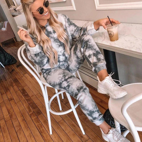 Tracksuit Women Two Piece Set Pants And Top Tie Dye Lounge Wear Sweat shirt