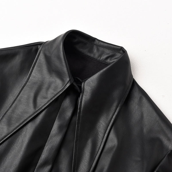 Unique Long Sleeve Pu Faux Leather Jacket with attached flowing black mesh ruffle bottom