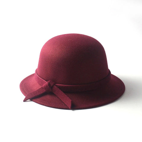 Classic Wool Felt Women's Fashion Fall Winter Hat with decorative bow