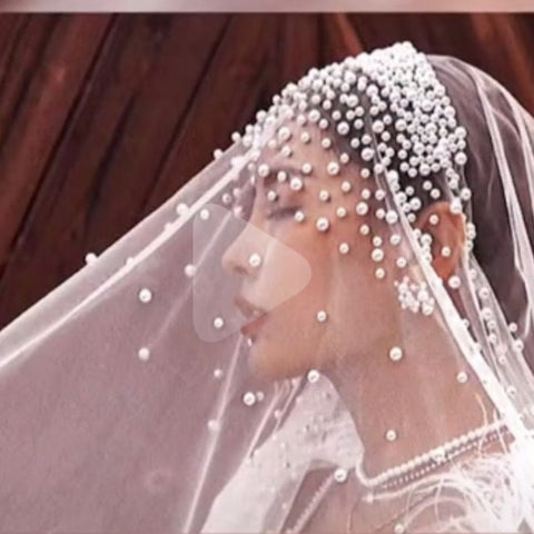 Long Pearls Wedding Veil Tulle White Bridal Veil Elegant Luxurious Beaded Bride