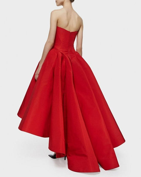 Hi Lo Evening Formal Dress-Satin Red-Also Available in Plus Sizes