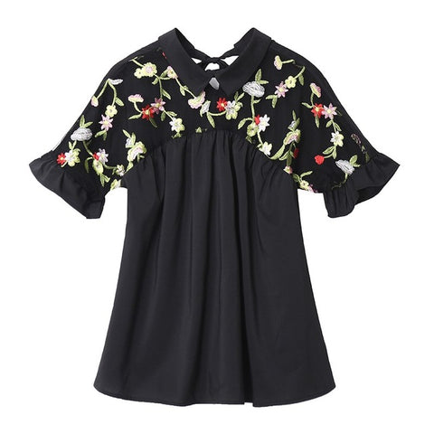 Mesh Floral Embroidery Short Sleeve blouse/ available from Small - plus sizes