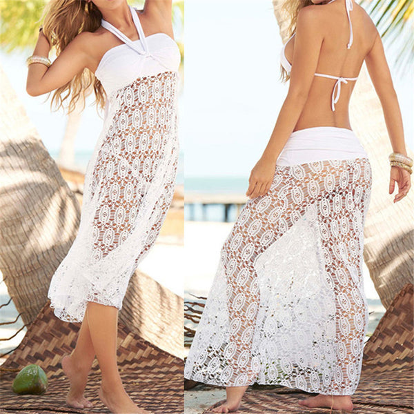 white  Convertible crochet Bikini Cover Up