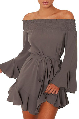 Off Shoulder Flare Long Sleeve flirty dress
