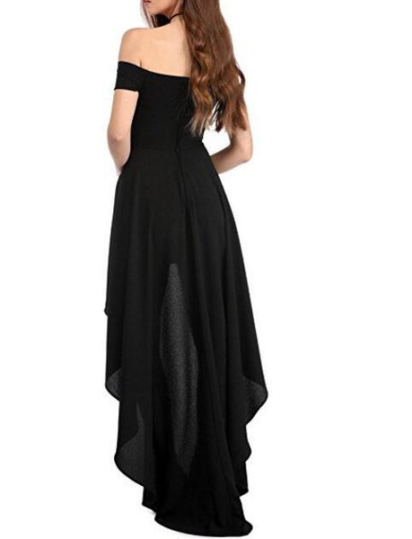 Off Shoulder High Low Maxi Party Dress