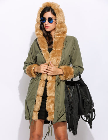 Hoodie Faux Fur Long Sleeve Coat. -Army green and black