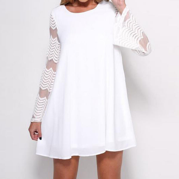 Round Neck Mesh Sheer Long Bell Sleeve Mini Dress-COLORS: BLACK AND WHITE