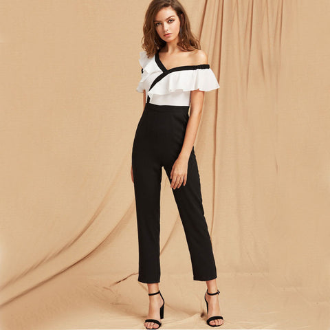 Black and White Two Tone Flounce Asymmetric Shoulder Tailored  Ruffled sleeve Jumpsuit