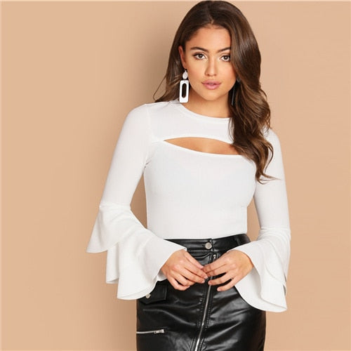 White  front cut out long sleeve women's pullover