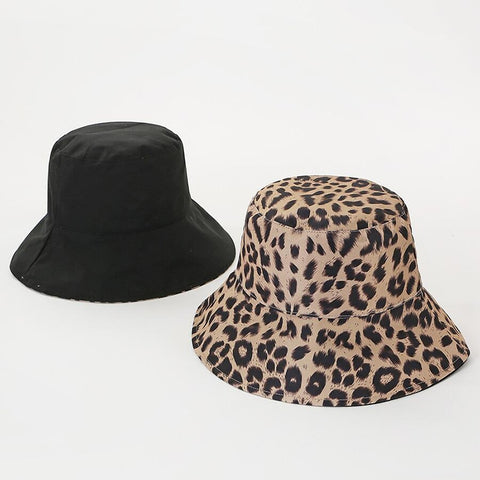 Foldable Leopard Print and solid colors Bucket Hat for Women