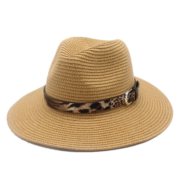 Tan Straw Panama Fedora Sun Hat Wide Brim-with leopard print ribbon