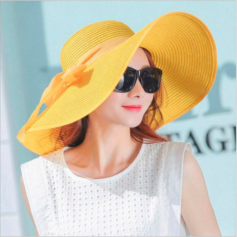 Yellow ladies Elegant summer hats with brim beach sun floppy hat
