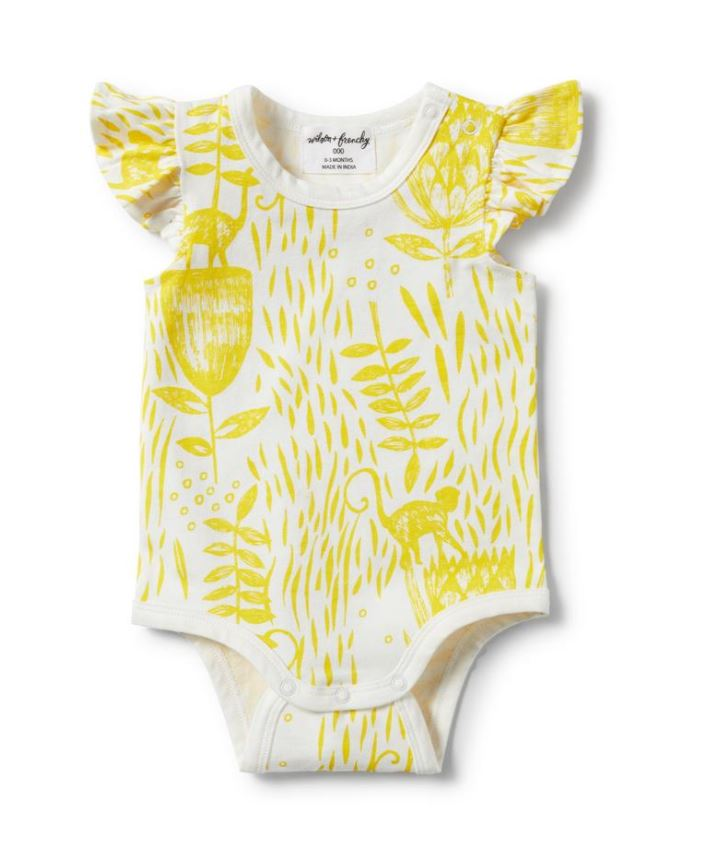 Mellow Yellow Flutter Sleeve Bodysuit | Wilson & Frenchy