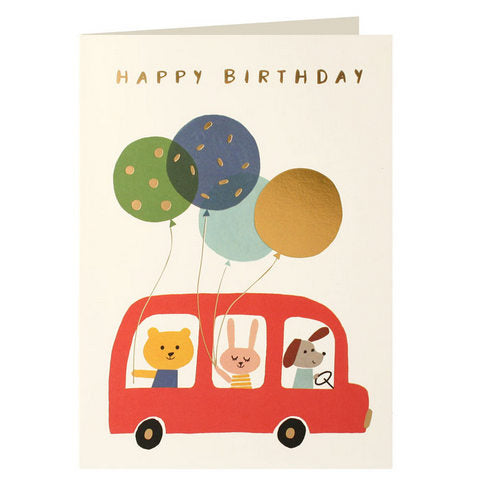 Bus & Balloons Birthday Card