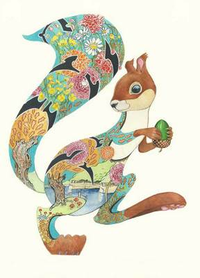 Turquoise Squirrel Greeting Card | DM Collections