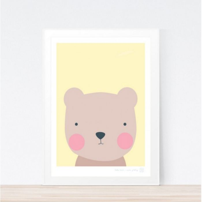 Hello Bear Art Print Childrens Wall