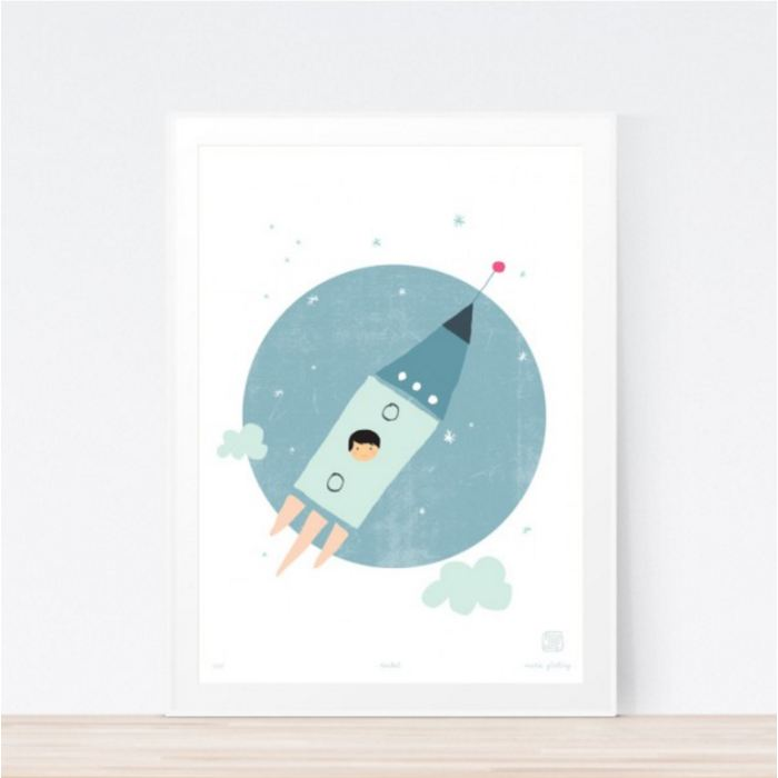 Rocket Art Print Childrens Wall