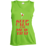 Ladies Sleeveless Moisture Absorbing V-Neck - Keep Calm