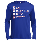 Long Sleeve Moisture Absorbing Tee - Eat Sleep Repeat