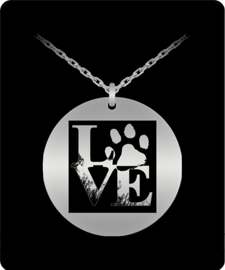 Love Dog Paw Laser Engraved Necklace 20 Inch Chain for the Dog Lover