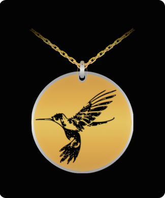 Hummingbird Laser Engraved Necklace - 20 Inch Chain