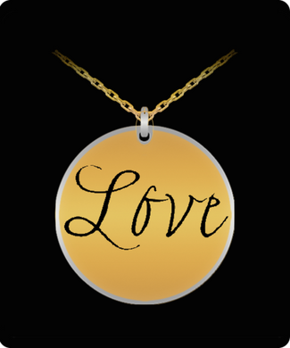 Love Laser Engraved Necklace with 20 Inch Chain