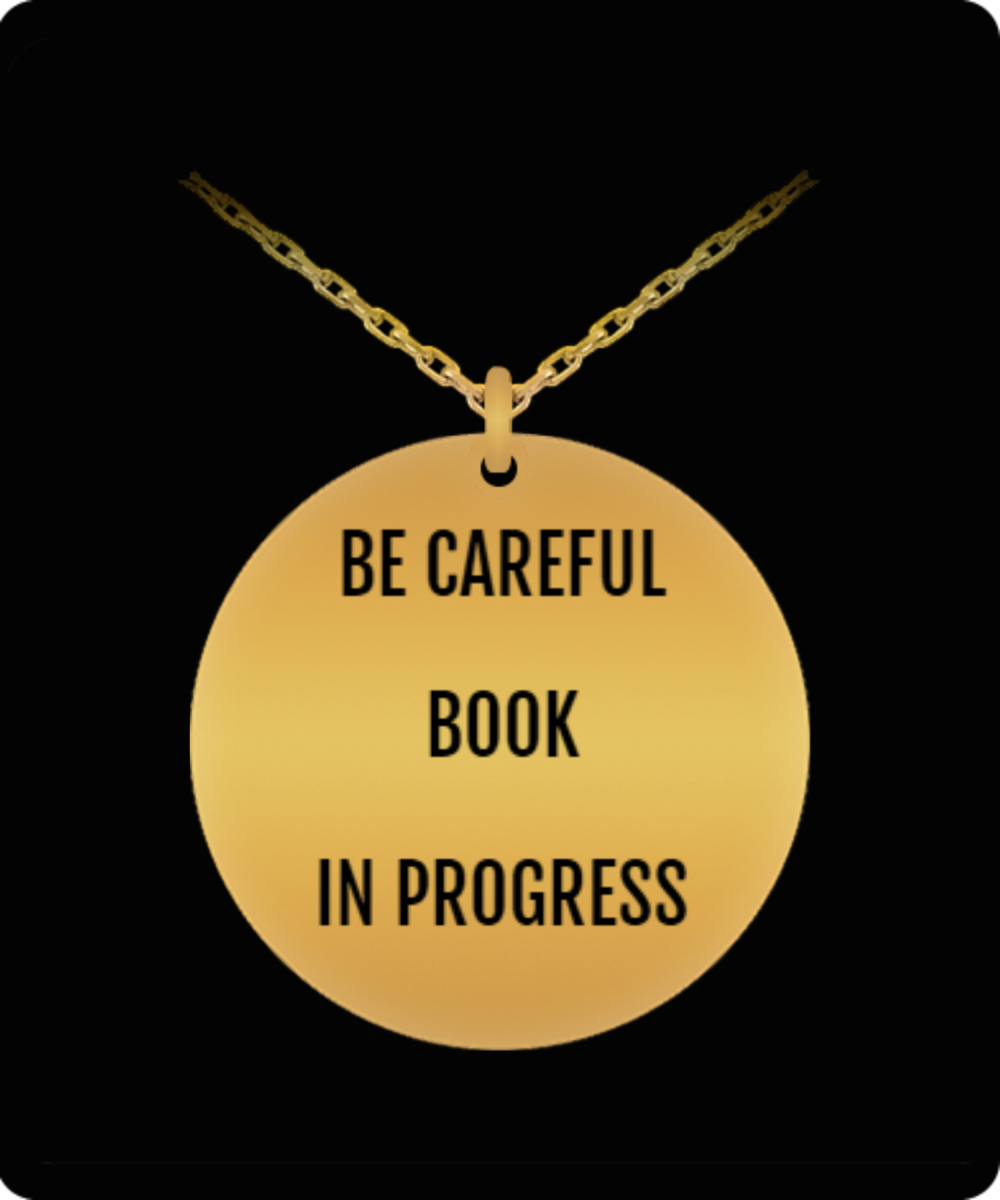Author Necklace - 18K Plated SS -20 Inch Chain - For the Author