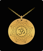 Lotus OHM Necklace - 20 Inch Chain - Laser Engraved